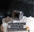 Ring Royal Beauty Edelstahl mit schwarzem Zirkonia