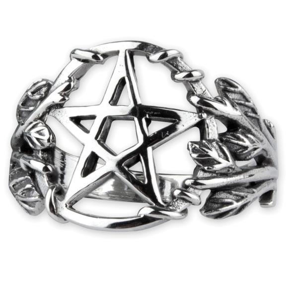 Ring Gothic Pentagram 925 Silber