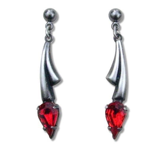 Ohrringe Gothic Fantasy silberfarben mit Zirkonia rot aus Tombak