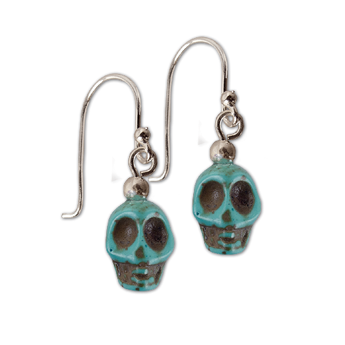 Ohrringe Totenkopf Skull blau Ohrhänger aus 925er Sterling Silber