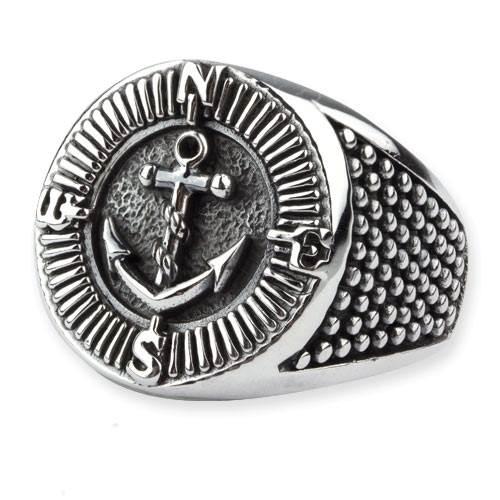 Ring Kompass und Anker aus 925er Sterling Silber Maritimer Schmuck