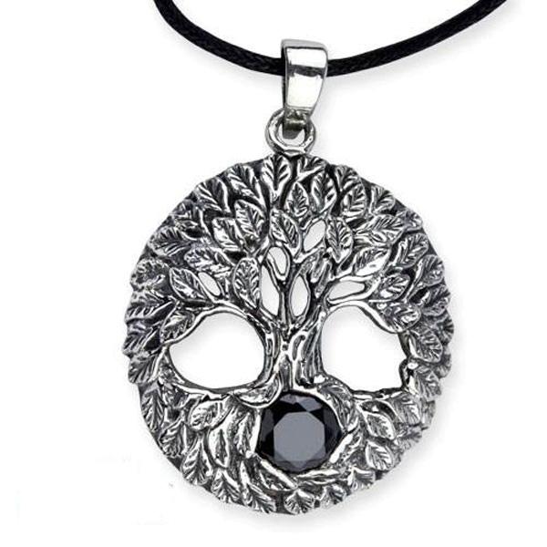 Amulett Lebensbaum Baum des Lebens mit schwarzem Zirkona 925er Sterling Silber