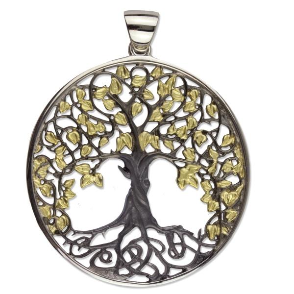 Lebensbaum  Amulett Baum des Lebens 925er Sterling Silber teilvergoldet und schwarz rhodiniert