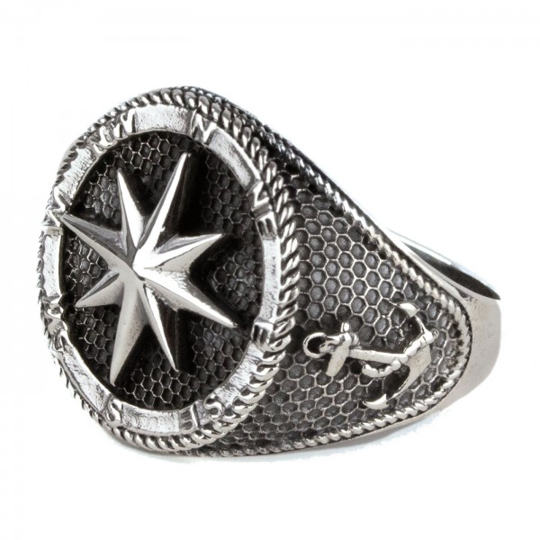 Ring Kompass Nautischer Stern und Anker 925 Sterling Silber