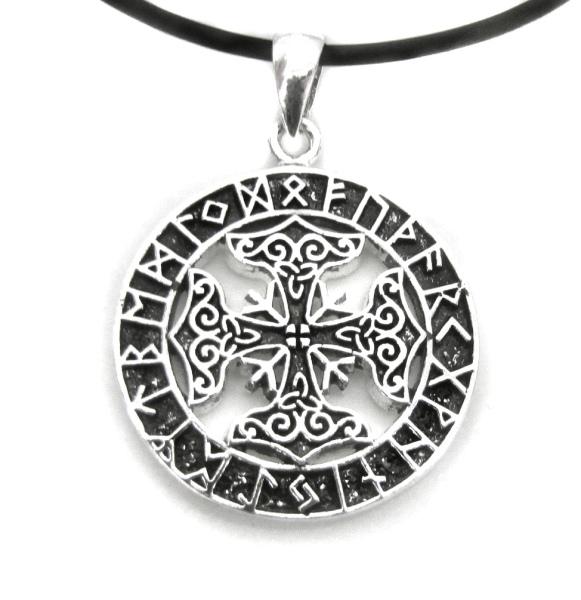 Anhänger Amulett Futhark Runen mit keltischen Kreuz Bronze versilbert