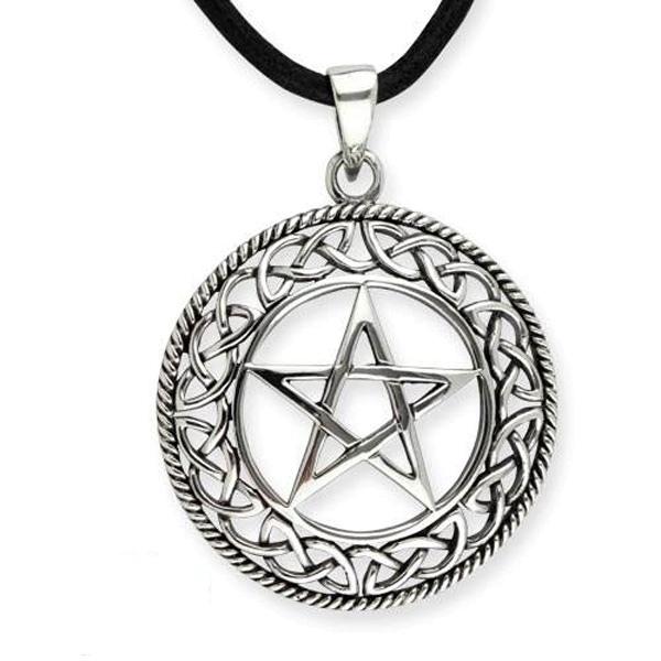 Amulett Pentagramm mit keltischen Knoten 925er Sterling Silber mit Lederband 3,1cm