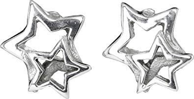 Ohrstecker Stern und Sternchen 925er Silber Höhe 1cm