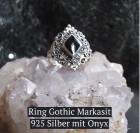 Bezaubernder rautenförmiger Ring aus 925er Sterling Silber mit schwarzen Onyx und Markasit