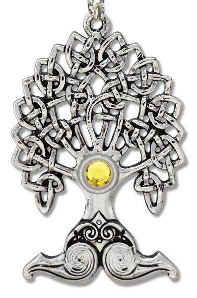 Anhänger Merlins Eiche silberfarbene Zinklegierung mit gelben Zirkonia inkl Kette
