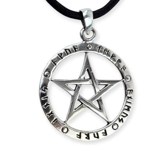 Amulett Pentagramm mit Runen 925er Sterling Silber mit Lederband 2,7cm