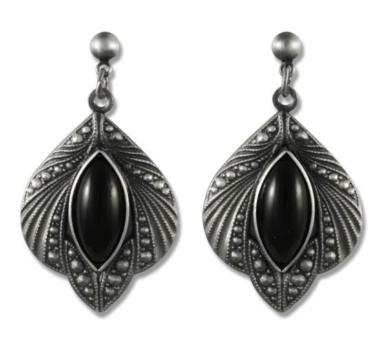 Ohrringe Medieval Gothic antik silberfarben mit schwarzen Glassteinen aus Tombak
