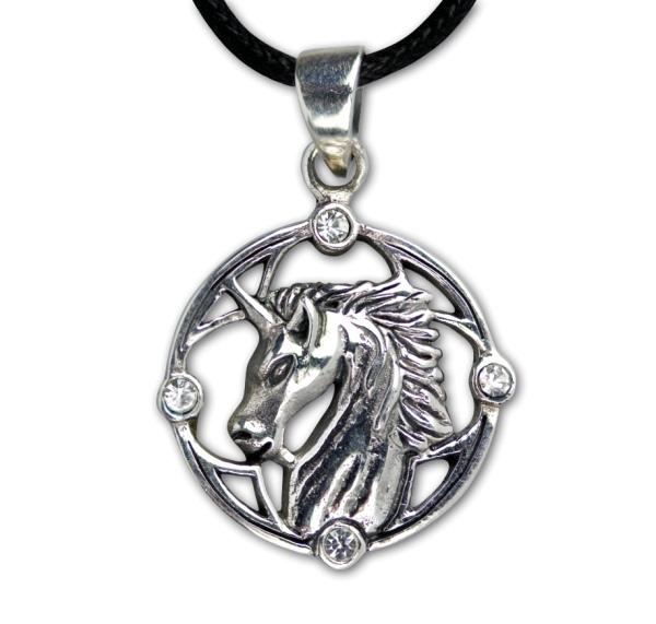 Anhänger Einhorn Unicorn 925er Sterling Silber mit weißen Zirkonia inkl Lederband