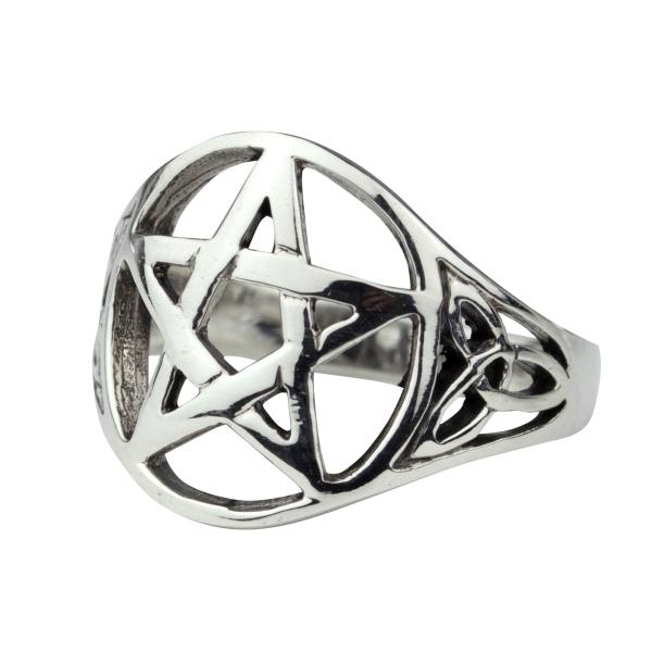 Silberring Pentagramm mit keltischen Knoten