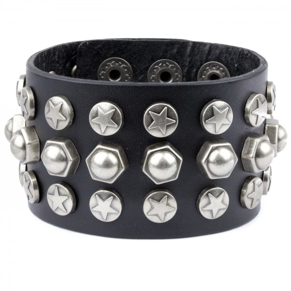 Nietenarmband Stars and Screws aus Leder mit Zink