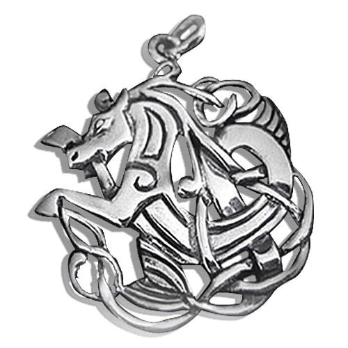 Silberanhänger Pferd mit keltischen Motiven