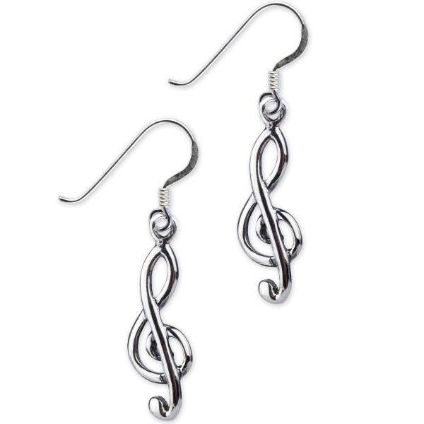 Notenschlüssel Ohrhänger aus 925er Sterling Silber