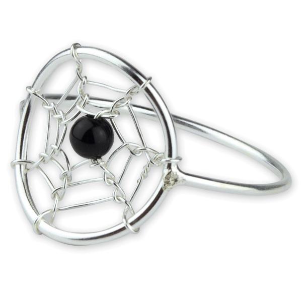 Filigraner Silberring Traumfänger - oder auch Dreamcatcher - aus 925er Sterling Silber mit schwarzem Onyx Durchmesser 1,4c