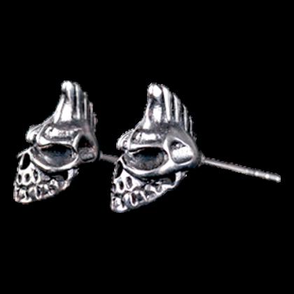 Ohrstecker Skull Punk mit Iro Silber Schmuck Ohrringe