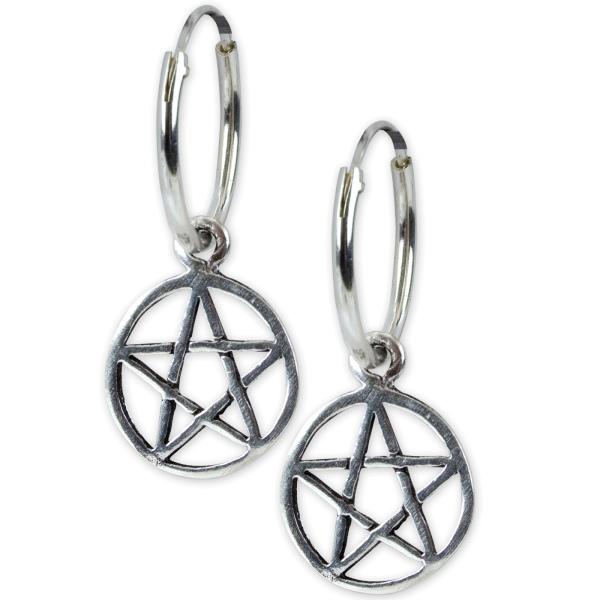 Creolen mit Pentagramm 925 Silber