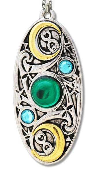 Amulett Mond - Schild keltische Motive silberfarbene Zinklegierung mit Zirkonia goldfarben teilcoloriert inkl Kette
