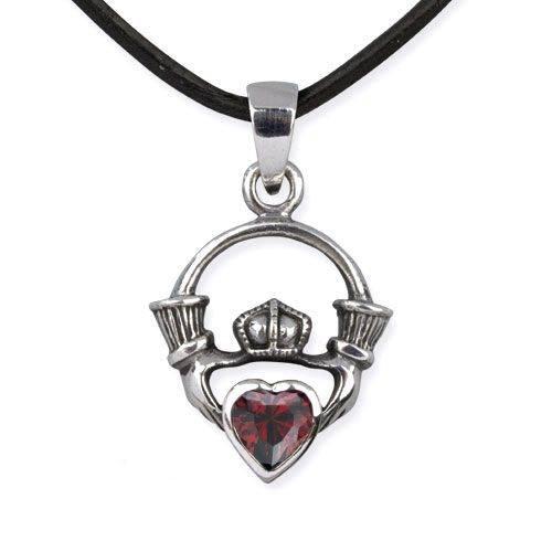 Anhänger Claddagh Irish Wedding Herz mit Krone 925er Sterling Silber mit Zirkonia rot irischer Schmuck