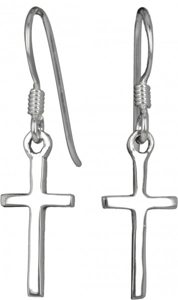 Ohrringe Kreuz 925 Sterling Silber Länge 1,7cm