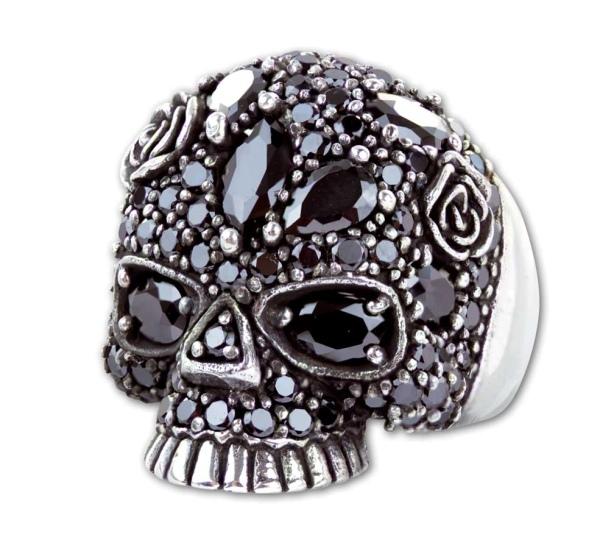 Ring Gothic Sparkling Skull 925er Sterling Silber mit Zirkonia schwarz