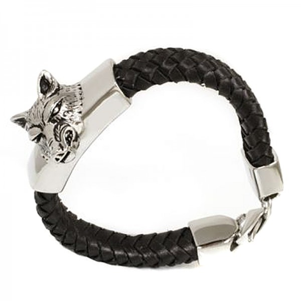 Armband Wolf schwarz geflochten mit Wolfskopf aus Edelstahl