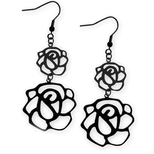 Ohrringe Black Rose Edelstahl schwarz beschichtet Länge 5cm Nu-Gothic