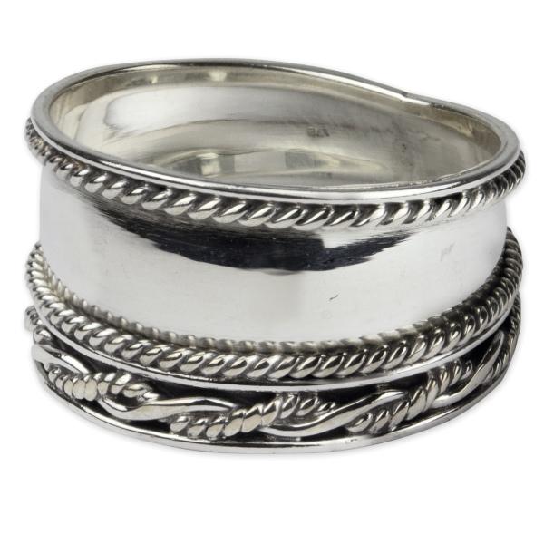 Breiter Ring Rope 925 Sterling Silber Höhe 2 cm
