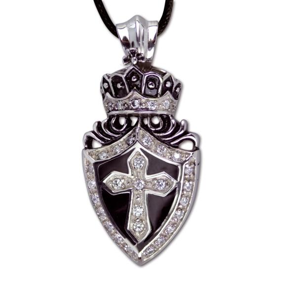 Anhänger Kreuz mit Krone Crowned Cross Edelstahl mit Zirkonia