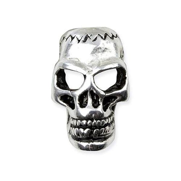 Bartperle Totenkopf  Skull versilbert