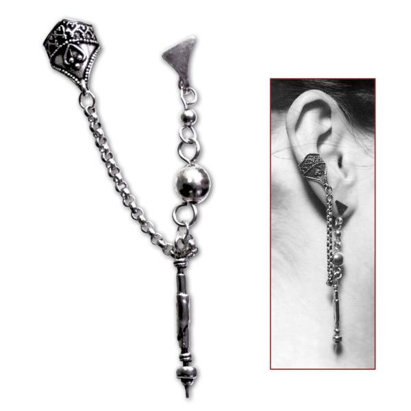 Ohrklemme mit Ohrring Stab und Kette aus 925er Sterling Silbe