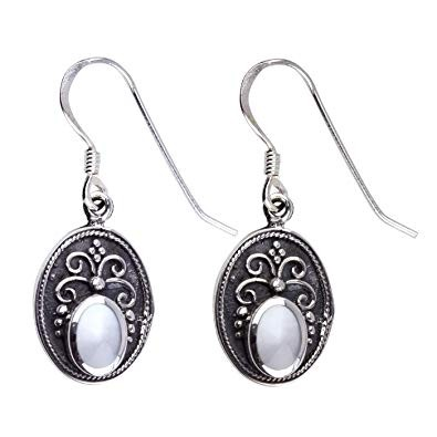 Ovale Ohrringe Ornament 925 Sterling Silber mit Perlmutt