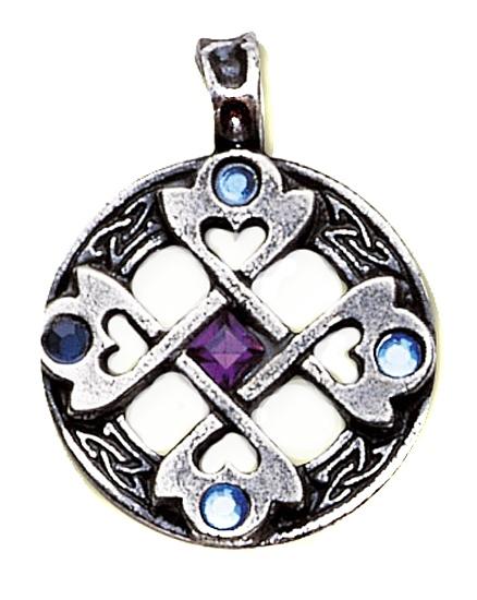 Amulett Keltisches Kreuz - Herz Zinn mit Zirkonia blau und lila inkl Kette