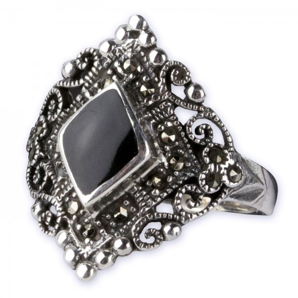 Ring Gothic Markasit 925 Silber mit Onyx Höhe 2,1 cm