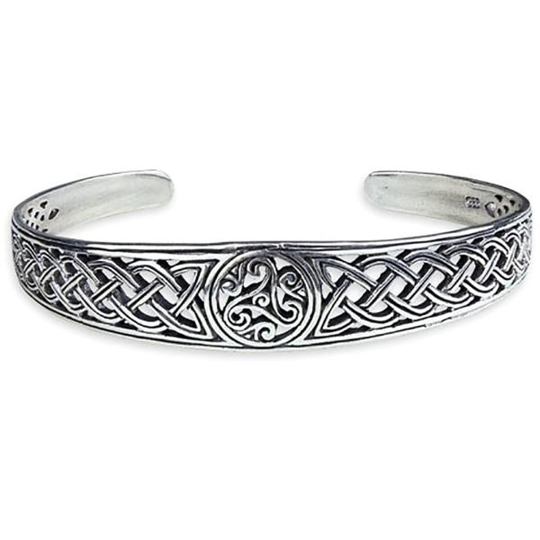 Silberarmreif Triskele mit keltischen Knoten
