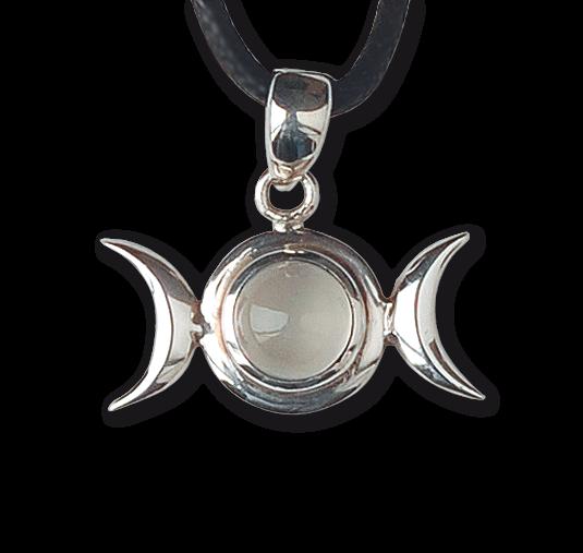 Anhänger Mondphase mit Lederband 925er Sterling Silber