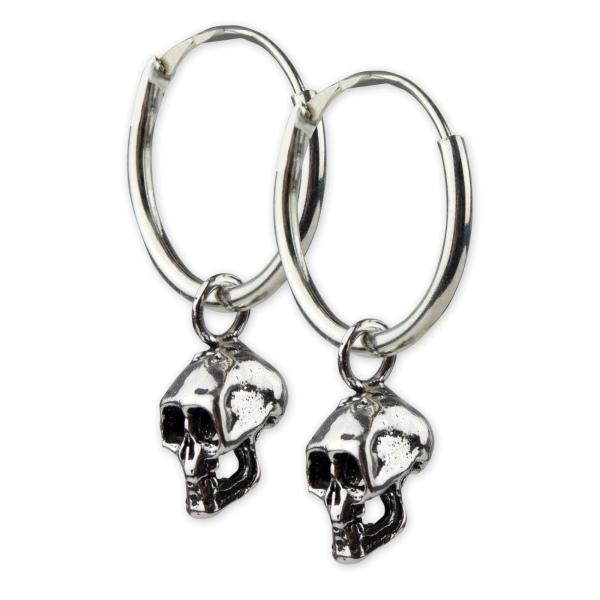 Creolen mit Totenkopf Ohrringe 925 Sterling Silber
