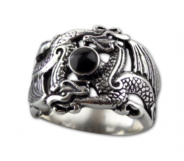 Ring Drachen Double Dragon 925er Sterling Silber mit Onyx