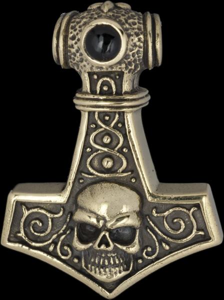 Thors Hammer mit Skull aus Bronze