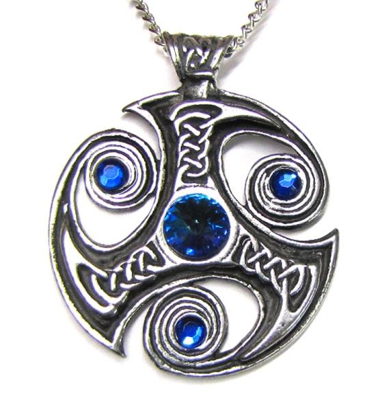 Anhänger Triskele mit keltischen Knoten und blauen Zirkonia aus Hartzinn (Pewter)