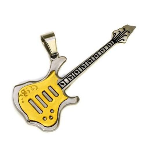 Anhänger E Gitarre bicolor goldfarben Edelstahl Schmuck