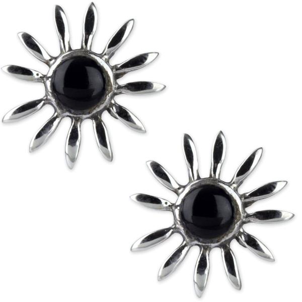 Ohrstecker Black Flower aus 925 Silber