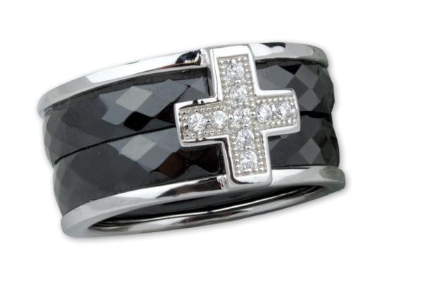 Schwarzer Ring Kreuz Keramik 925er Sterling Silber mit Zirkonia Gothic Deluxe Schmuck