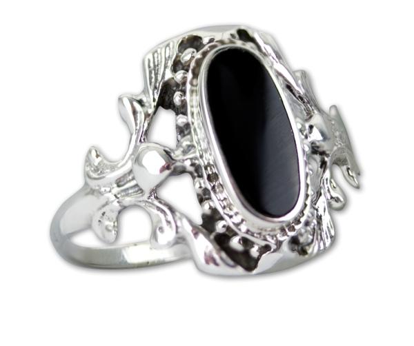 Ring Gothic Black Ornament 925er Sterling Silber mit schwarzem Onyx