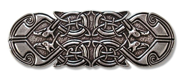 Haarspange keltischer Pfau handgegossen aus englischen Zinn