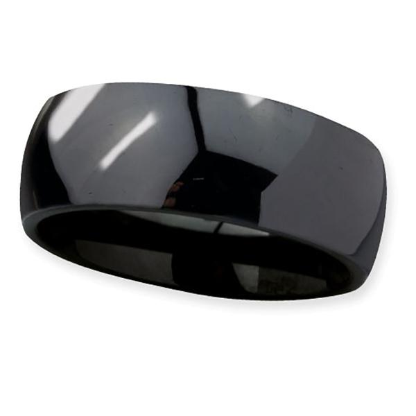 Schwarzer klassischer Ring aus Keramik. Höhe 8mm