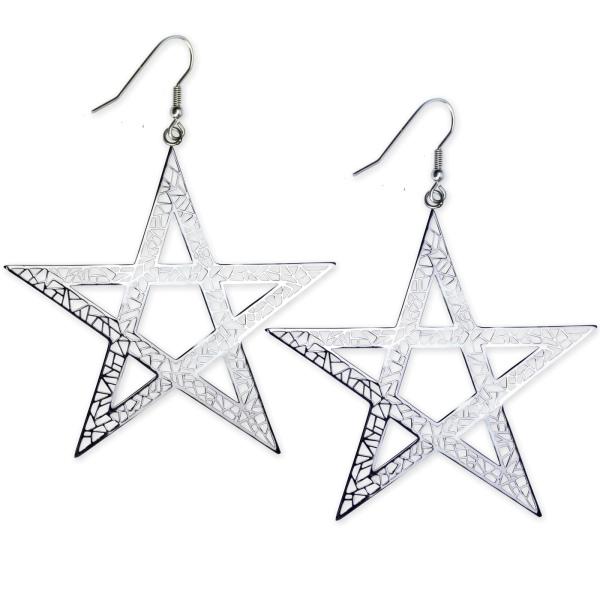 Große Ohrringe Pentagramm Edelstahl Länge 6,1 cm Nu Goth