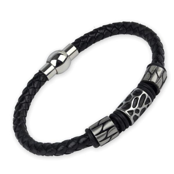 Schwarzes Armband Wild Style aus Leder mit Edelstahl